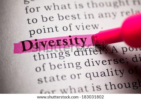 Fake Dictionary, definition of the word Diversity. - stock photo