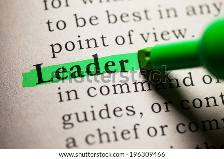 Fake Dictionary, definition of the word leader. - stock photo