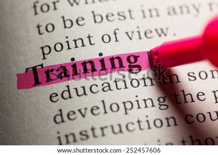 Fake Dictionary, definition of the word training. - stock photo