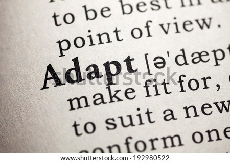 Fake Dictionary, Dictionary definition of the word adapt. - stock photo