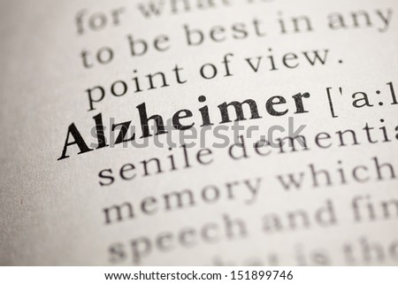 Fake Dictionary, Dictionary definition of the word Alzheimer. - stock photo