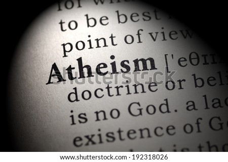 Fake Dictionary, Dictionary definition of the word atheism. - stock photo