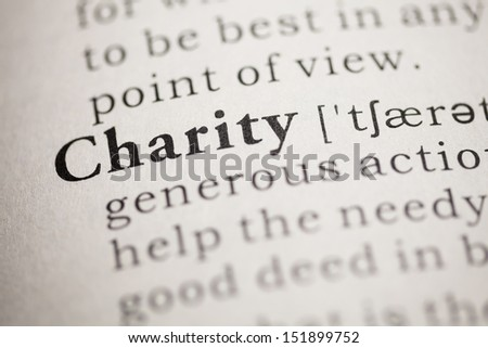 Fake Dictionary, Dictionary definition of the word charity. - stock photo