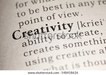 Fake Dictionary, Dictionary definition of the word Creativity. - stock photo
