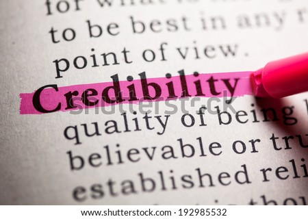 Fake Dictionary, Dictionary definition of the word credibility. - stock photo