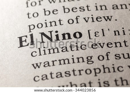 Fake Dictionary, Dictionary definition of the word El Nino - stock photo