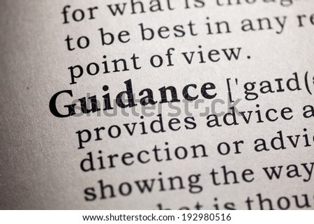 Fake Dictionary, Dictionary definition of the word guidance. - stock photo