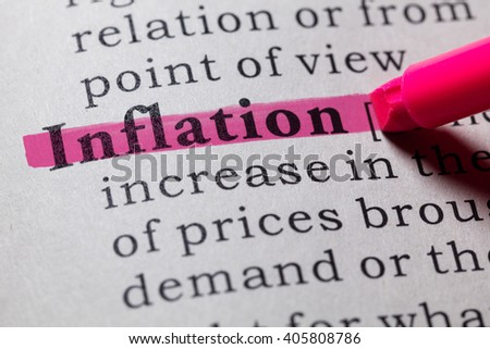 Fake Dictionary, Dictionary definition of the word inflation. - stock photo