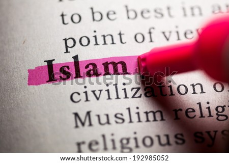 Fake Dictionary, Dictionary definition of the word Islam. - stock photo