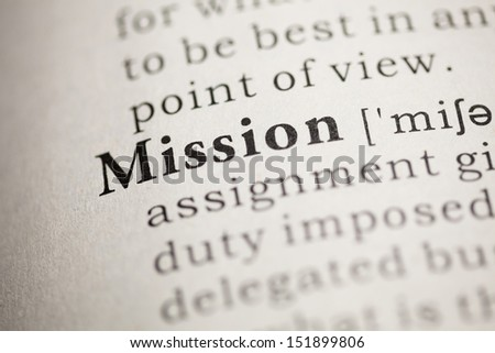 Fake Dictionary, Dictionary definition of the word Mission. - stock photo