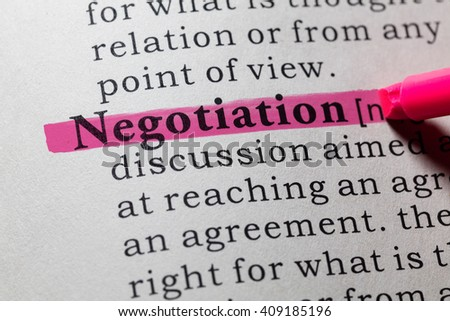 Fake Dictionary, Dictionary definition of the word negotiation. - stock photo