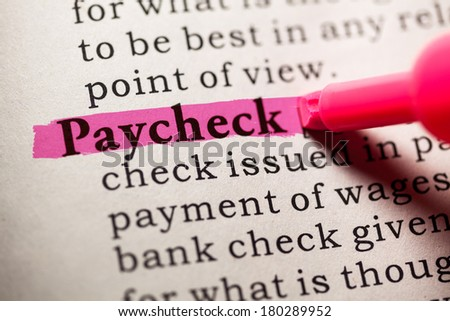 Fake Dictionary, Dictionary definition of the word paycheck. - stock photo