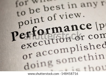 Fake Dictionary, Dictionary definition of the word Performance.