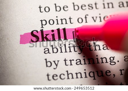 Fake Dictionary, Dictionary definition of the word skill. - stock photo