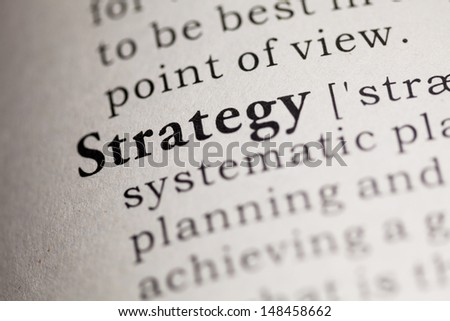 Fake Dictionary, Dictionary definition of the word Strategy. - stock photo