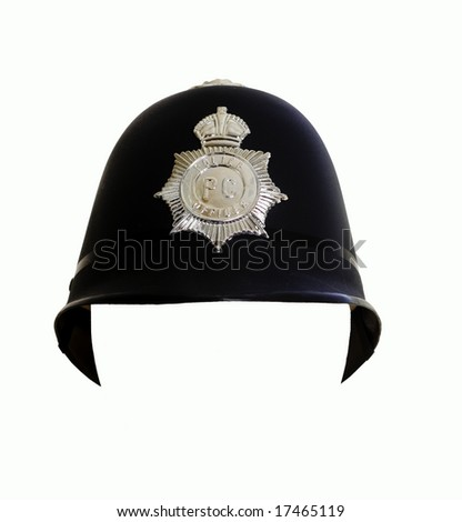 Fake London Metropolitan Police Helmet, you can insert a face in the white space area. - stock photo