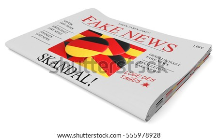 Fake News Germany Concept: Newspaper Front Page, 3d illustration on white background