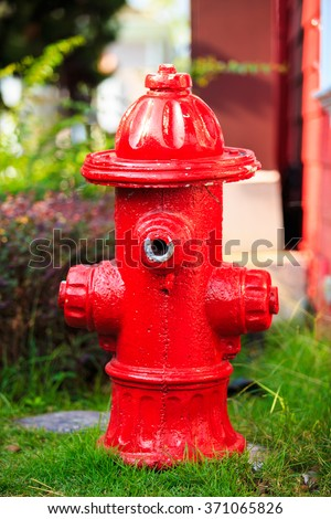 Fake of Red Fire pumps, Fire Department Connector, Fire hydrant, Hose Connection. - stock photo