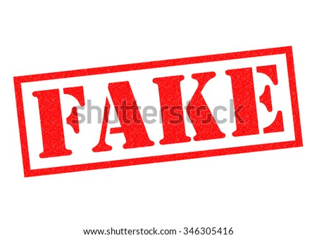 FAKE red Rubber Stamp over a white background. - stock photo