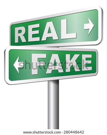 fake versus real possible or impossible reality check searching truth - stock photo