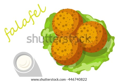 Falafel stuffed pita with vegetables. - stock photo