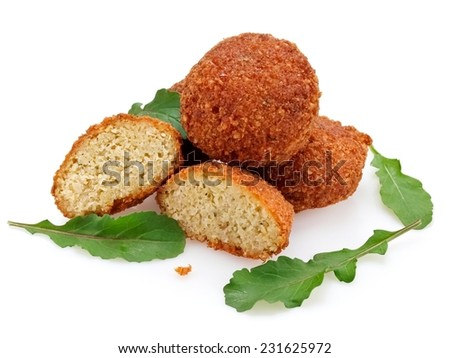 Falafels with rucola leafs - stock photo