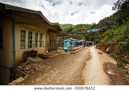 FALAM, MYANMAR - JUNE 18 2015: Authentic house in Falam in the recently opened to foreigners area of Chin State - western Myanmar (Burma) - stock photo