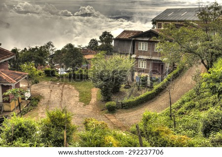 Falam town in the Western Chin State, Myanmar (Burma) - stock photo
