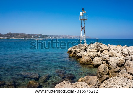 Faliraki Harbour entrance Rhodes Greece Europe