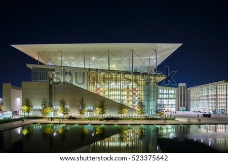 FALIRO, GREECE - NOVEMBER 2016: The Stavros Niarchos Foundation is a multifunctional education, arts and recreation complex which includes a park, the National Library and the National Opera