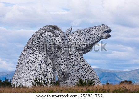 FALKIRK - AUGUST 19: The Kelpies Horse statue at The Helix Park in Falkirk, Scotland on Aug 19th 2014.  - stock photo