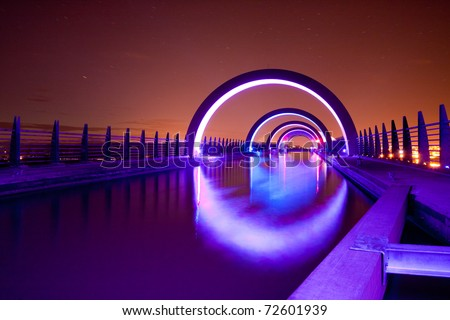 Falkirk Wheel at Night, Scotland - stock photo