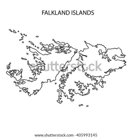 Falkland Islands Map Outline Stock Illustration - Falkland islands map