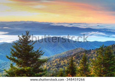 Fall and fog peak in the Great Smoky Mountains. - stock photo