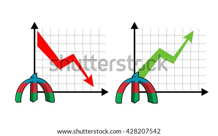 Fall and rise of courses manat , oil. Red down arrow. Green up arrow. Reduction quotes Azerbaijan currency, money. Increase of sales volumes of market for cash. Set graph for business infographics - stock photo