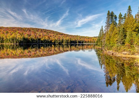 Fall and sky reflection  - stock photo