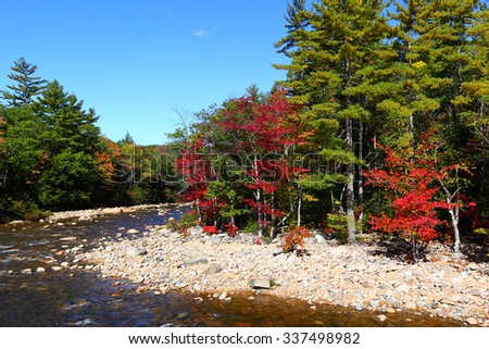 Fall at White Mountain National Park in New Hampshire - stock photo