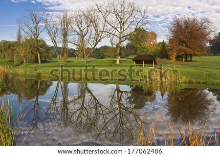 Fall/Autumn trees reflected in a golf course dam. - stock photo