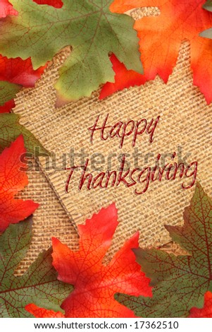 fall background with green and oranges leaves covering twin rope paper saying Happy Thanksgiving - stock photo
