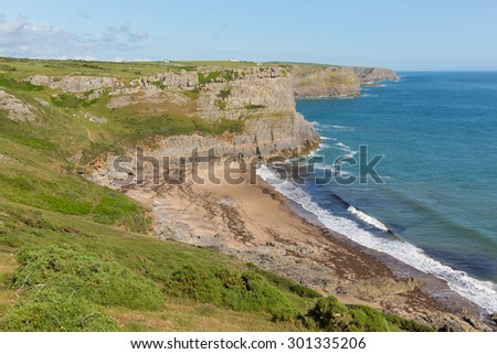 Fall Bay beach The Gower peninsula South Wales UK near to Rhossili beach and Mewslade Bay on Wales coast path