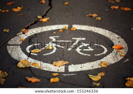Fall bike path - stock photo