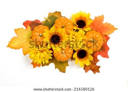 Fall Centerpiece/ Floral Autumn Centerpiece/ Horizontal Shot/ Isolated On White - stock photo