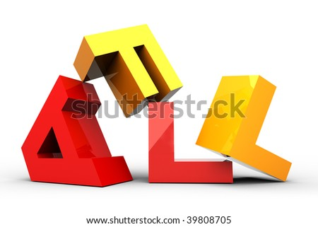 FALL color letters isolated on white - stock photo