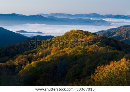 Fall colors in the Smoky Mountains National Park - stock photo