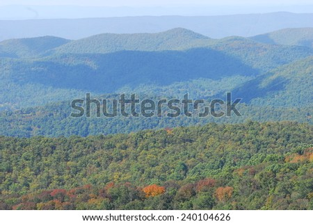 Fall Colors of autumn in Shenandoah National Park Virginia - stock photo