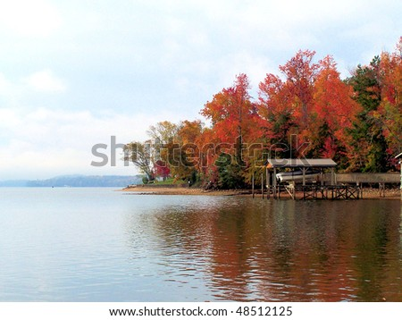 fall colors on a Tennessee lake - stock photo