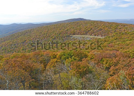 Fall Colors on the Skyline Drive in Shenandoah National Park in Virginia - stock photo
