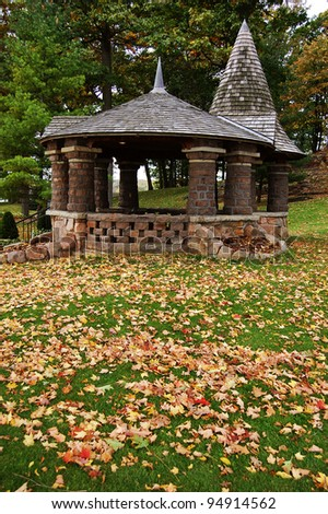 Fall Foliage and Pavilion in Thousand Islands, New York