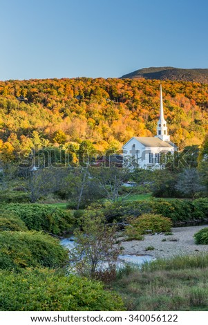 Fall Foliage landscape and Church in Stowe, Vermont. - stock photo