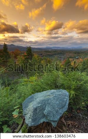 Fall foliage landscape, Stowe, Vermont, USA - stock photo